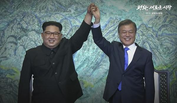 사진 :KTV유튜브(2018. 4. 27) 영상 캡쳐,남북정상회담, 종전선언! 완전한 비핵화! 판문점 선언 서명식 및 정상 공동선언